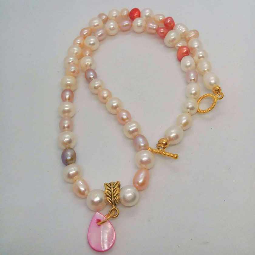 Peaches and Cream Freshwater Pearl Jewellery Set With A Mother of Pearl Pendant, Gift for Her 5