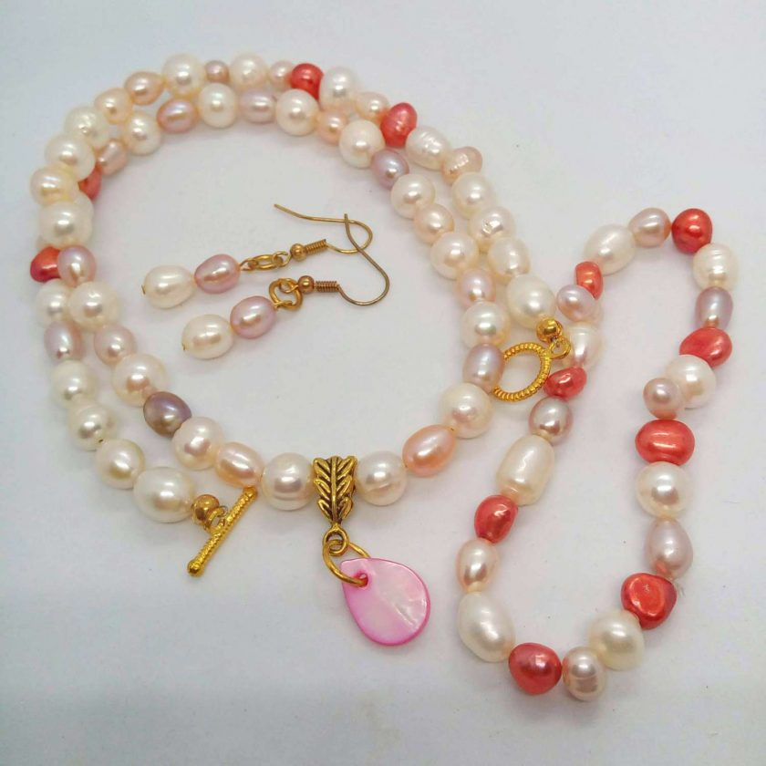 Peaches and Cream Freshwater Pearl Jewellery Set With A Mother of Pearl Pendant, Gift for Her 1