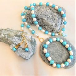 Blue and Cream Freshwater Pearl Jewellery Set With A Mother of Pearl Cross Pendant, Gift for Her 7