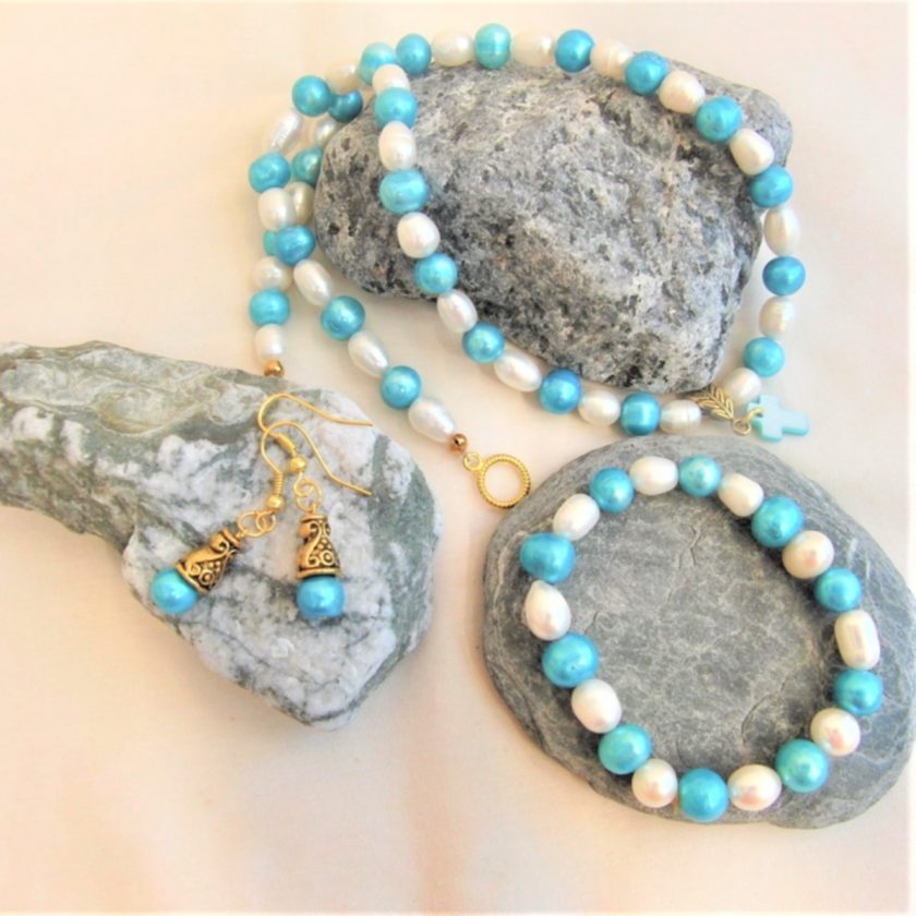 Blue and Cream Freshwater Pearl Jewellery Set With A Mother of Pearl Cross Pendant, Gift for Her 1