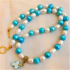 Blue and Cream Freshwater Pearl Jewellery Set With A Mother of Pearl Cross Pendant, Gift for Her 10