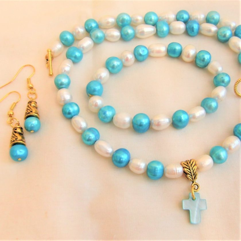 Blue and Cream Freshwater Pearl Jewellery Set With A Mother of Pearl Cross Pendant, Gift for Her 6