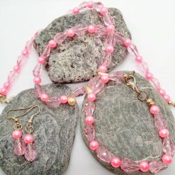Pink Crystal and Pink and Cream Pearl 3 Piece Jewellery Set, Gift for Her 7
