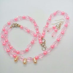 Pink Crystal and Pink and Cream Pearl 3 Piece Jewellery Set, Gift for Her 11
