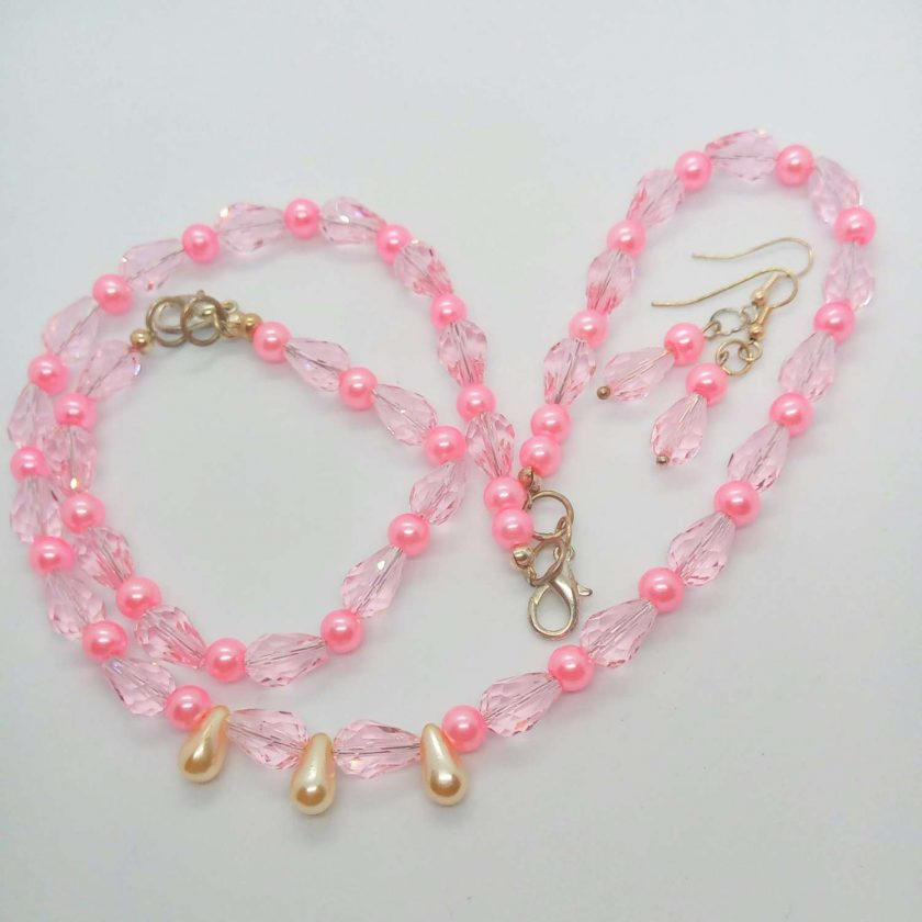 Pink Crystal and Pink and Cream Pearl 3 Piece Jewellery Set, Gift for Her 1