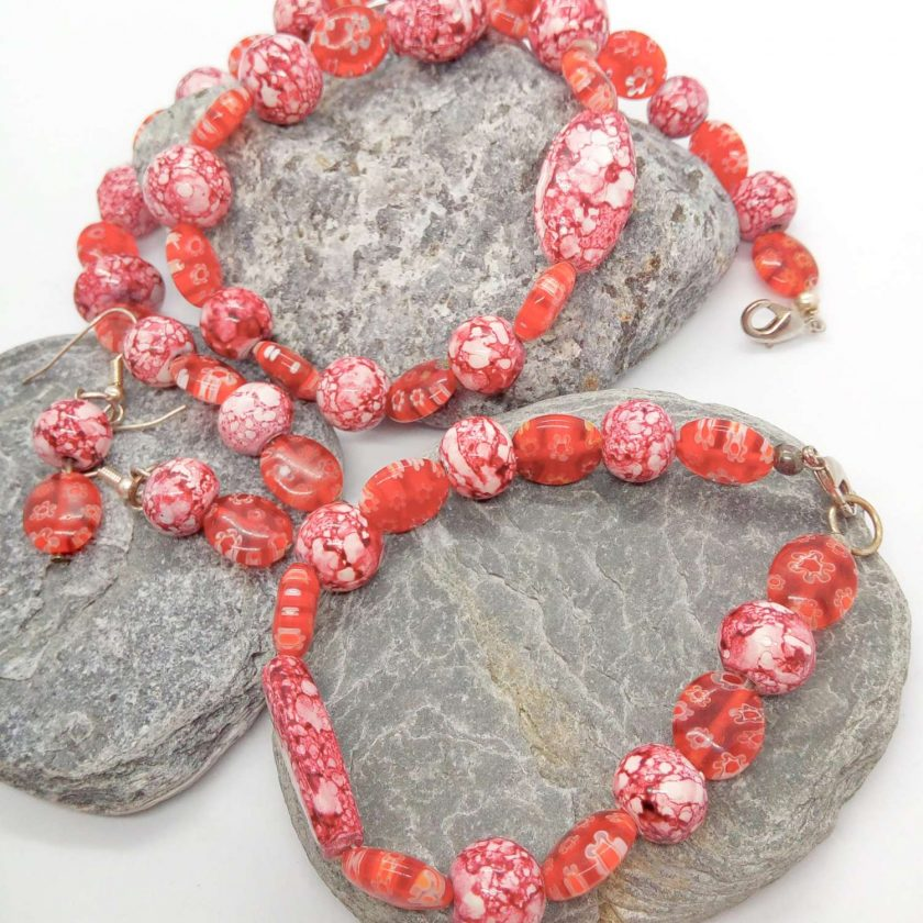 Mottled Pink Bead Necklace Bracelet and Earrings Set, Ladies Pink Jewellery Set, Gift for Her 2