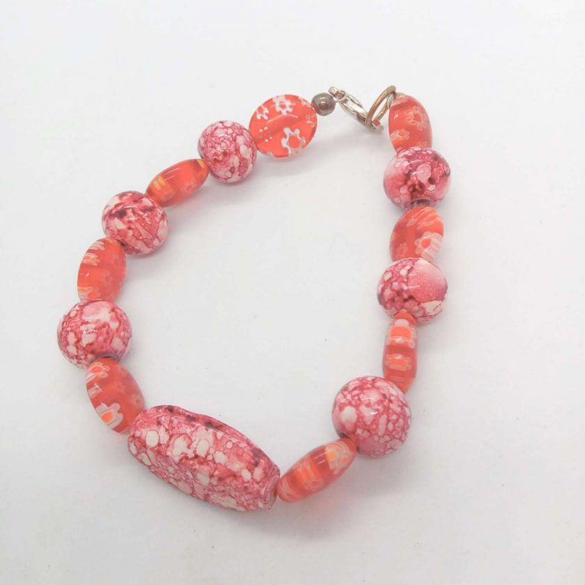 Mottled Pink Bead Necklace Bracelet and Earrings Set, Ladies Pink Jewellery Set, Gift for Her 4