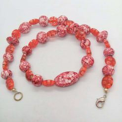 Mottled Pink Bead Necklace Bracelet and Earrings Set, Ladies Pink Jewellery Set, Gift for Her 10
