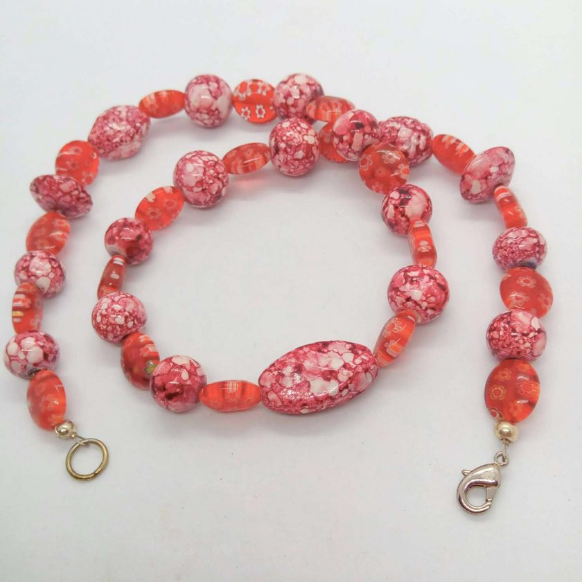 Mottled Pink Bead Necklace Bracelet and Earrings Set, Ladies Pink Jewellery Set, Gift for Her 5