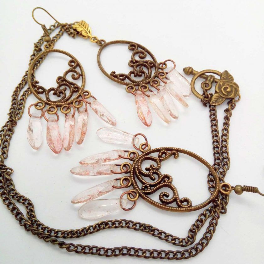 Bronze Plated Chandelier Pendant and Earrings Set with Pink Picasso Dagger Beads, Gift for Her 1