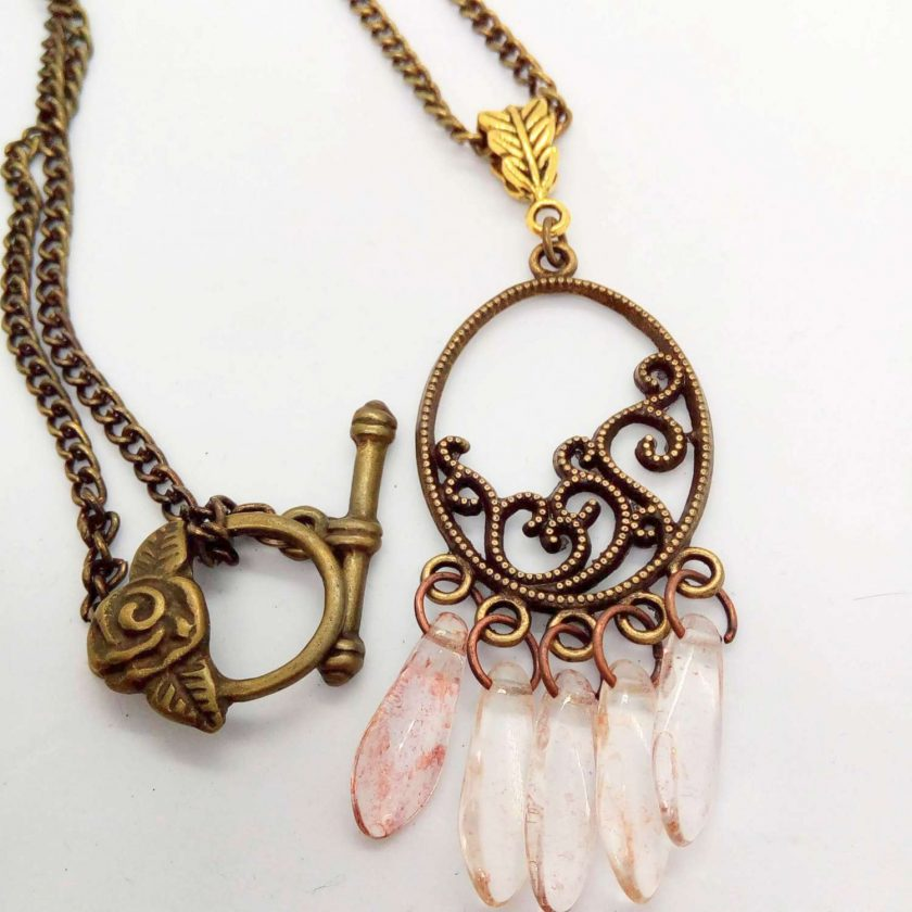 Bronze Plated Chandelier Pendant and Earrings Set with Pink Picasso Dagger Beads, Gift for Her 4