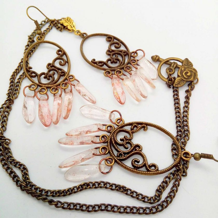 Bronze Plated Chandelier Pendant and Earrings Set with Pink Picasso Dagger Beads, Gift for Her 5