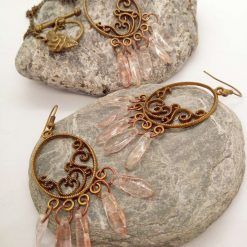 Bronze Plated Chandelier Pendant and Earrings Set with Pink Picasso Dagger Beads, Gift for Her 11