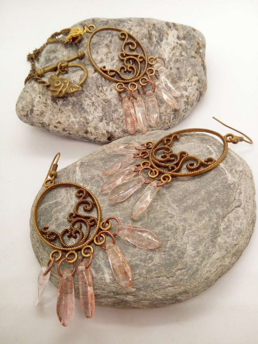 Bronze Plated Chandelier Pendant and Earrings Set with Pink Picasso Dagger Beads, Gift for Her 6