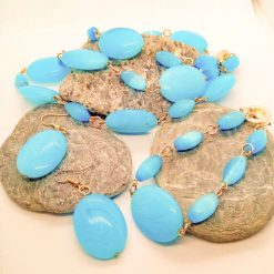 3 Piece Jewellery Set Made with Oval Blue Glass Beads, Blue Jewellery Set, Gift for Her 7