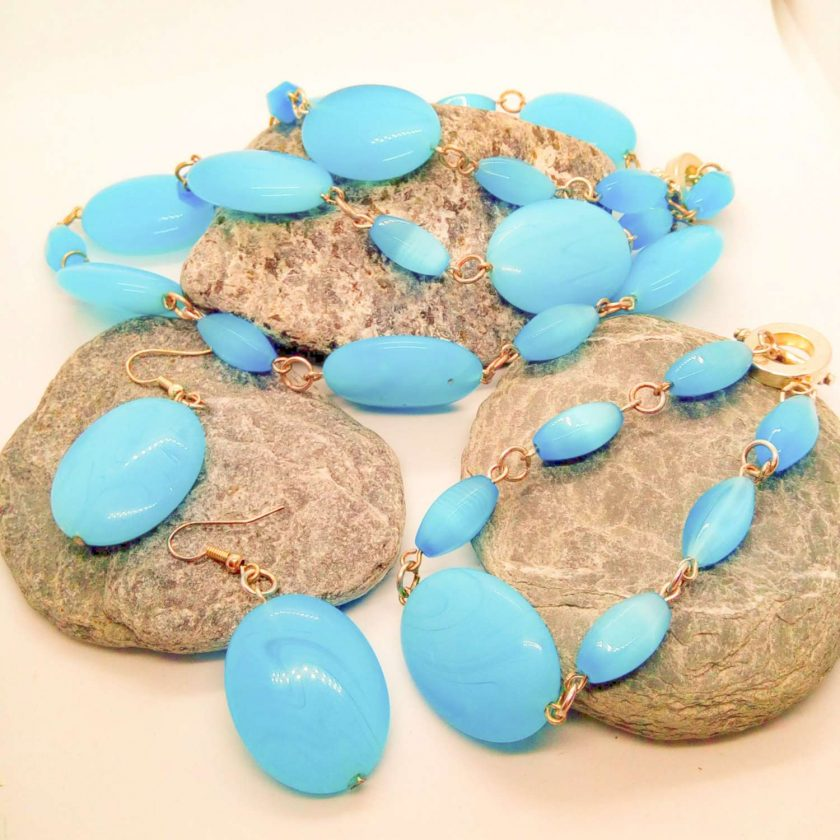 3 Piece Jewellery Set Made with Oval Blue Glass Beads, Blue Jewellery Set, Gift for Her 2