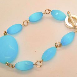 3 Piece Jewellery Set Made with Oval Blue Glass Beads, Blue Jewellery Set, Gift for Her 9