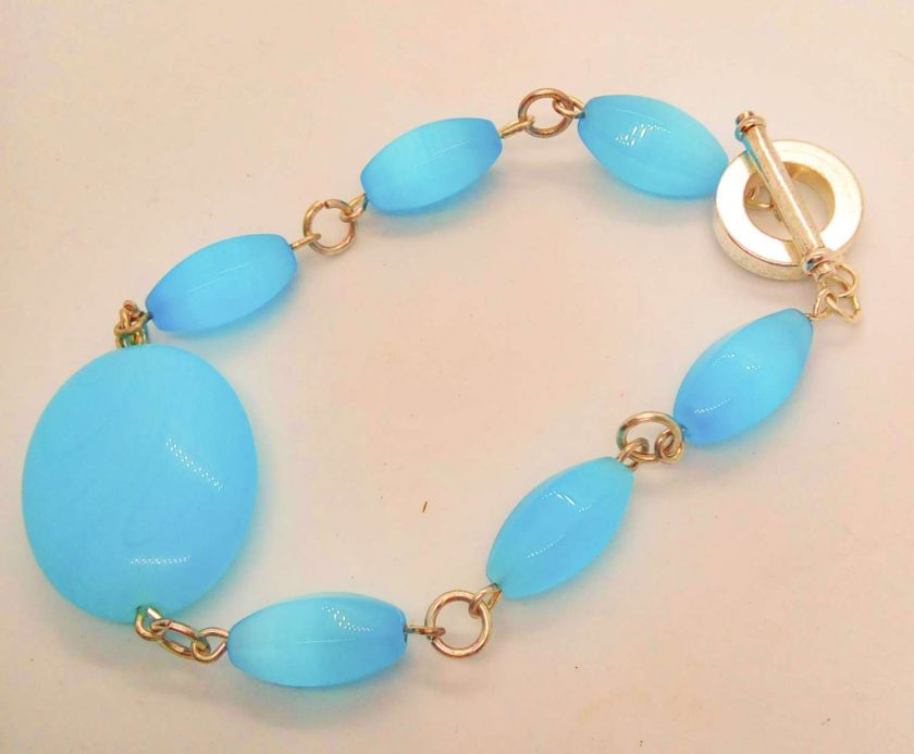 3 Piece Jewellery Set Made with Oval Blue Glass Beads, Blue Jewellery Set, Gift for Her 4