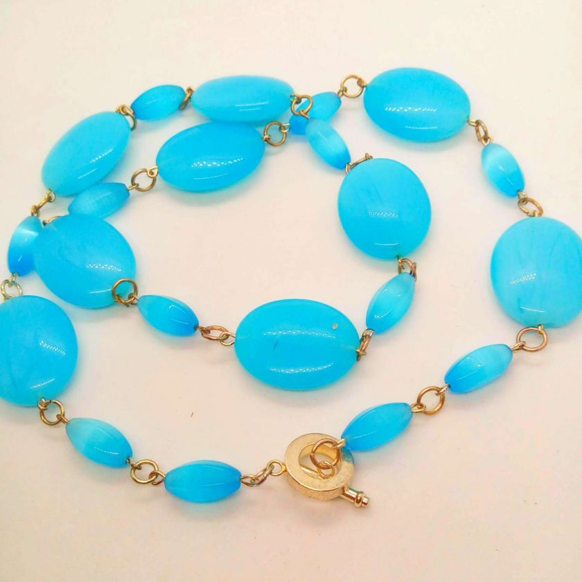 3 Piece Jewellery Set Made with Oval Blue Glass Beads, Blue Jewellery Set, Gift for Her 5