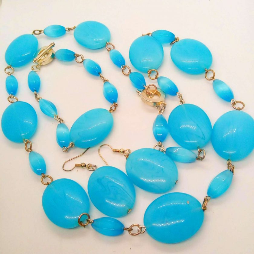 3 Piece Jewellery Set Made with Oval Blue Glass Beads, Blue Jewellery Set, Gift for Her 1