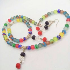 Jewellery Set Made With Multi Colour Millefiori Beads and Dusky Glass Bead with a Crystal Centrepiece 7