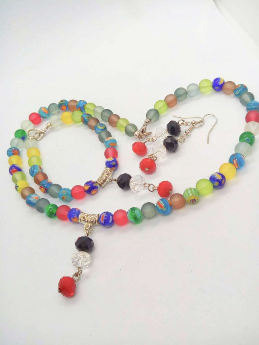 Jewellery Set Made With Multi Colour Millefiori Beads and Dusky Glass Bead with a Crystal Centrepiece 1