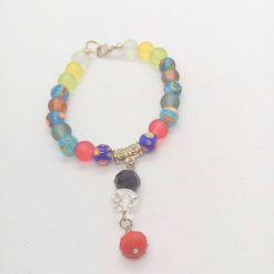 Jewellery Set Made With Multi Colour Millefiori Beads and Dusky Glass Bead with a Crystal Centrepiece 9