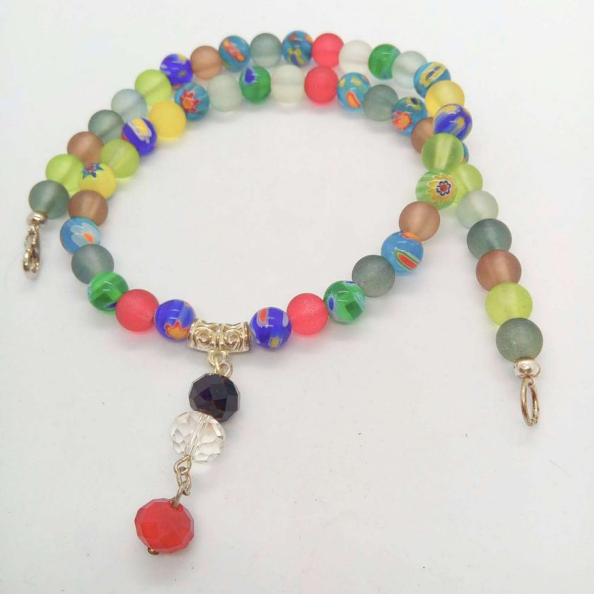 Jewellery Set Made With Multi Colour Millefiori Beads and Dusky Glass Bead with a Crystal Centrepiece 5