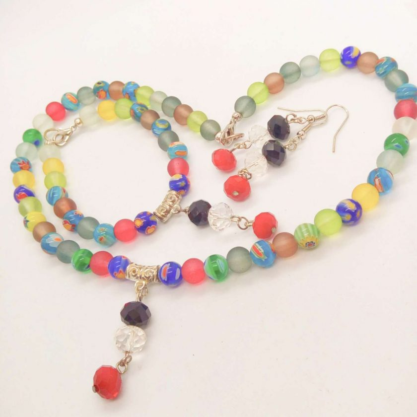 Jewellery Set Made With Multi Colour Millefiori Beads and Dusky Glass Bead with a Crystal Centrepiece 6