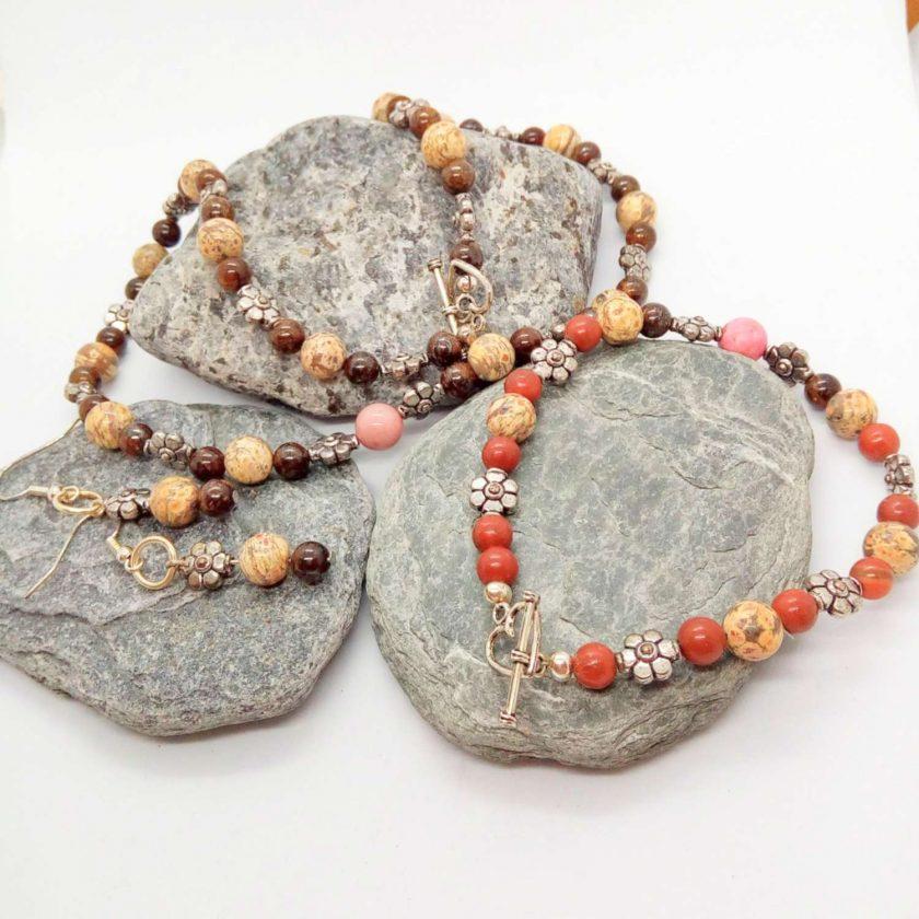 Jasper and Mahogany Obsidian 3 Piece Jewellery Set, Semi Precious Jewellery Set, Gift for Her 2