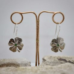 Lucky Sixpence, 4 Leaf Clover, Earring, Necklace, Cufflinks, with a Emerald Green cubic zirconia. 7