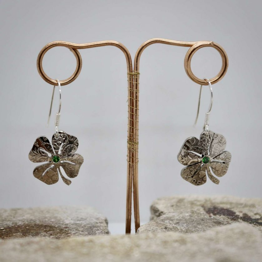 Lucky Sixpence, 4 Leaf Clover, Earring, Necklace, Cufflinks, with a Emerald Green cubic zirconia. 1