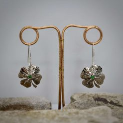 Lucky Sixpence, 4 Leaf Clover, Earring, Necklace, Cufflinks, with a Emerald Green cubic zirconia. 5