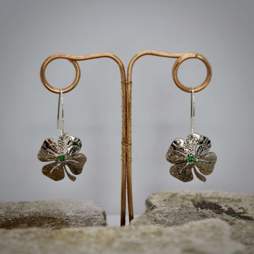Lucky Sixpence, 4 Leaf Clover, Earring, Necklace, Cufflinks, with a Emerald Green cubic zirconia. 2