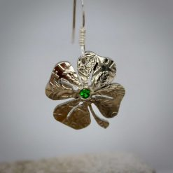 Lucky Sixpence, 4 Leaf Clover, Earring, Necklace, Cufflinks, with a Emerald Green cubic zirconia. 6