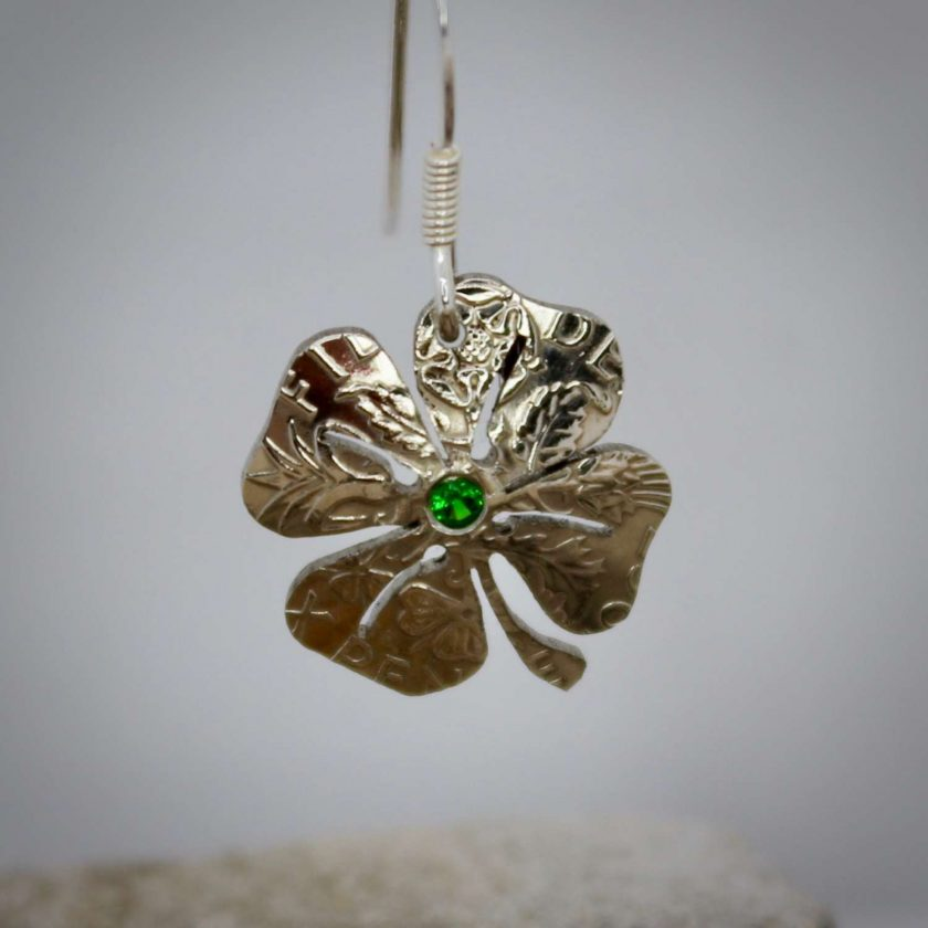 Lucky Sixpence, 4 Leaf Clover, Earring, Necklace, Cufflinks, with a Emerald Green cubic zirconia. 3