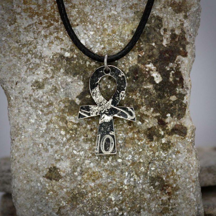 Ankh pendant, vintage coin mystic necklace. 2