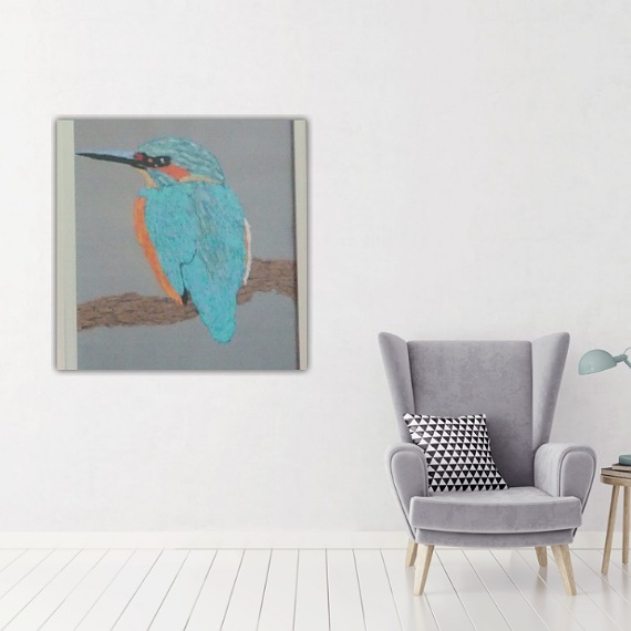 kingfisher thread painting. Artwork.  Home decore. 2