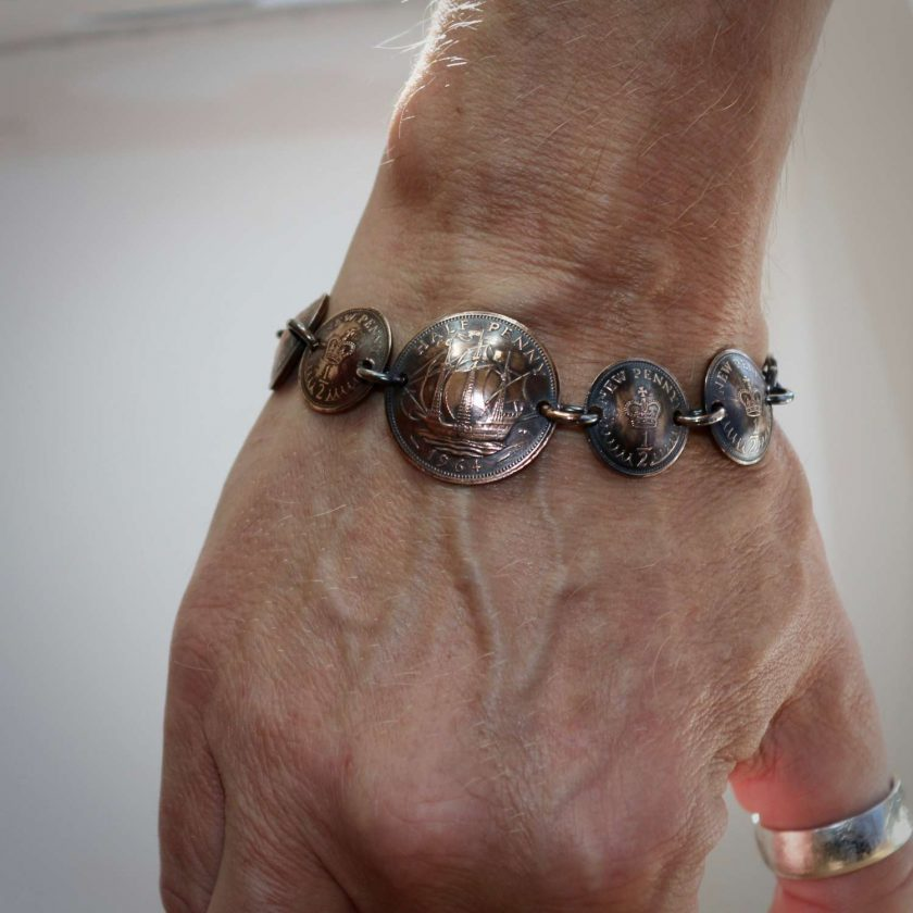 Boho, Hippy Bracelet Made From British Half Pennies. 7