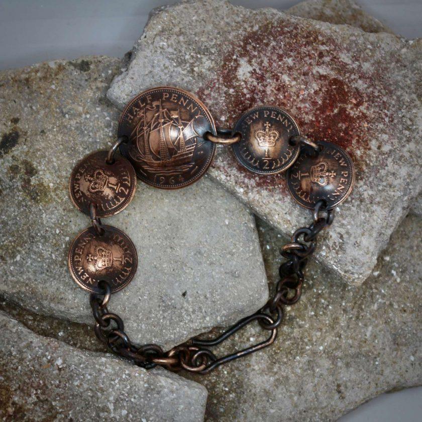Boho, Hippy Bracelet Made From British Half Pennies. 6