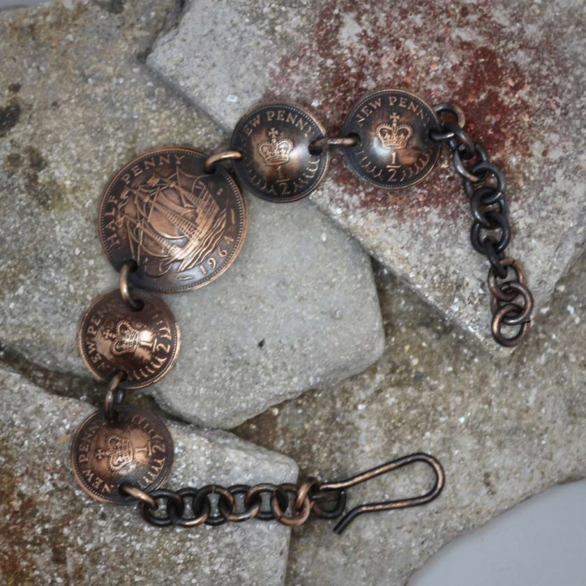 Boho, Hippy Bracelet Made From British Half Pennies. 5