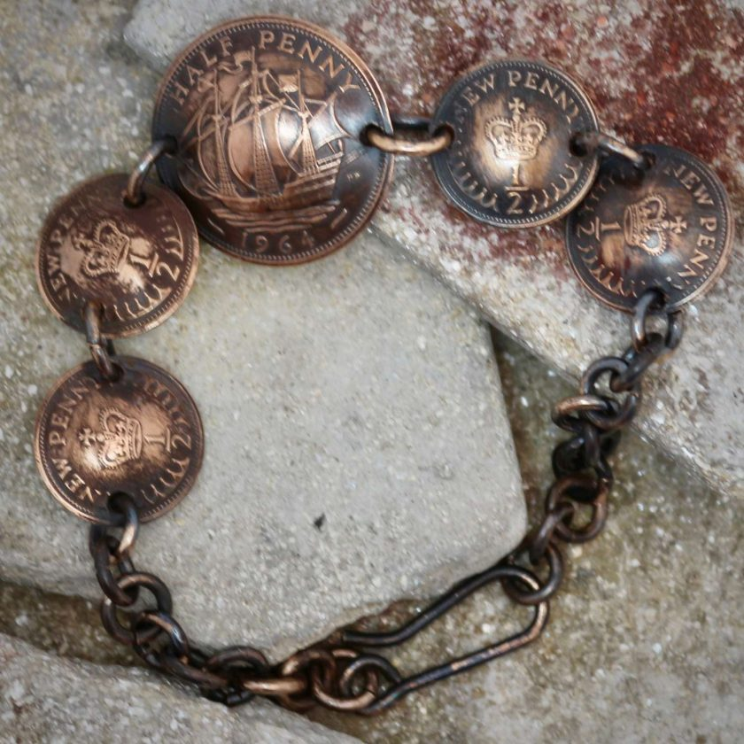 Boho, Hippy Bracelet Made From British Half Pennies. 4