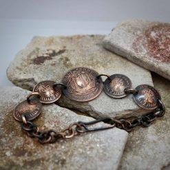 Boho, Hippy Bracelet Made From British Half Pennies. 9