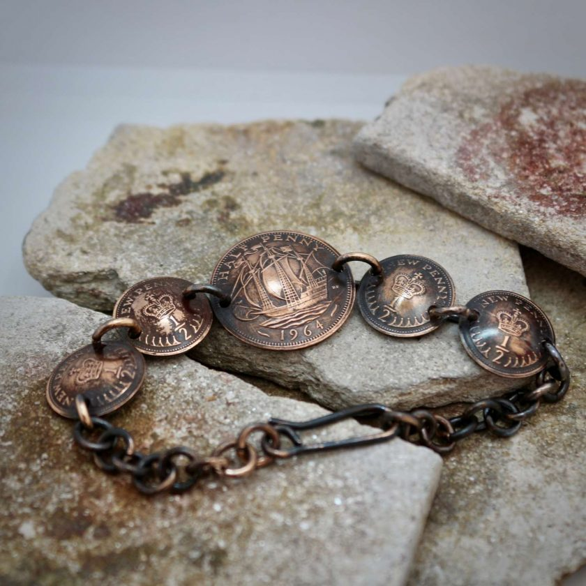 Boho, Hippy Bracelet Made From British Half Pennies. 3