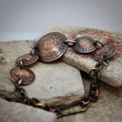 Boho, Hippy Bracelet Made From British Half Pennies. 8