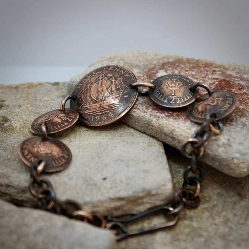 Boho, Hippy Bracelet Made From British Half Pennies. 1