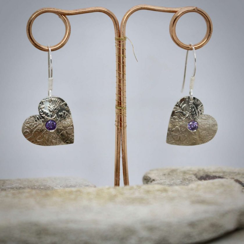 Lucky Sixpence Hand Made Heart Earrings, With Ruby Red cubic zirconia. 6