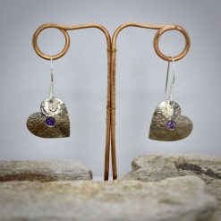 Lucky Sixpence Hand Made Heart Earrings, With Ruby Red cubic zirconia. 9