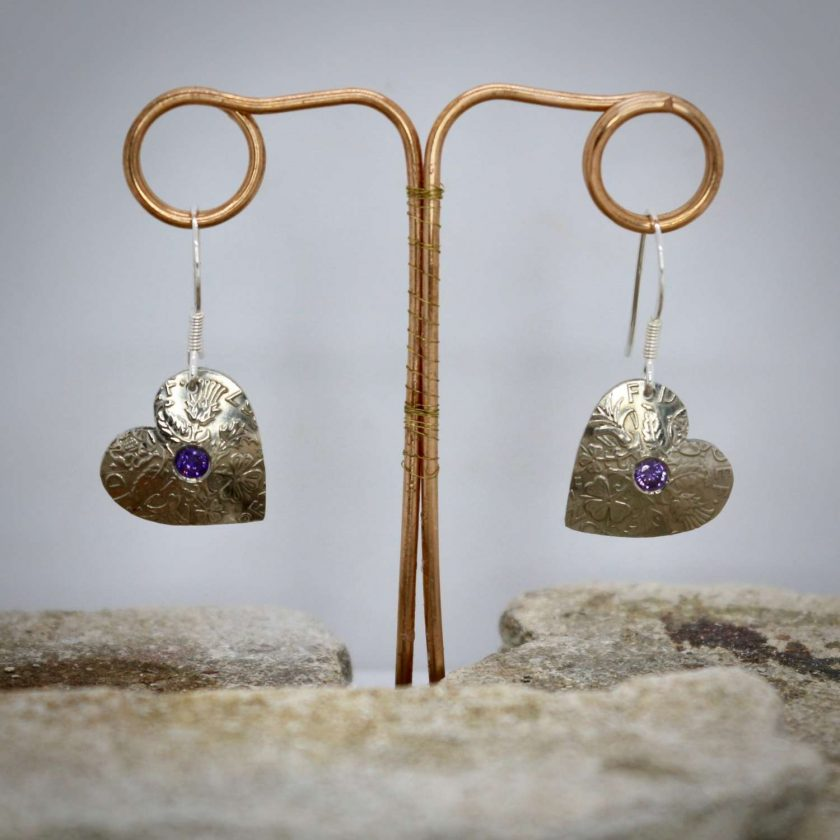 Lucky Sixpence Hand Made Heart Earrings, With Ruby Red cubic zirconia. 4