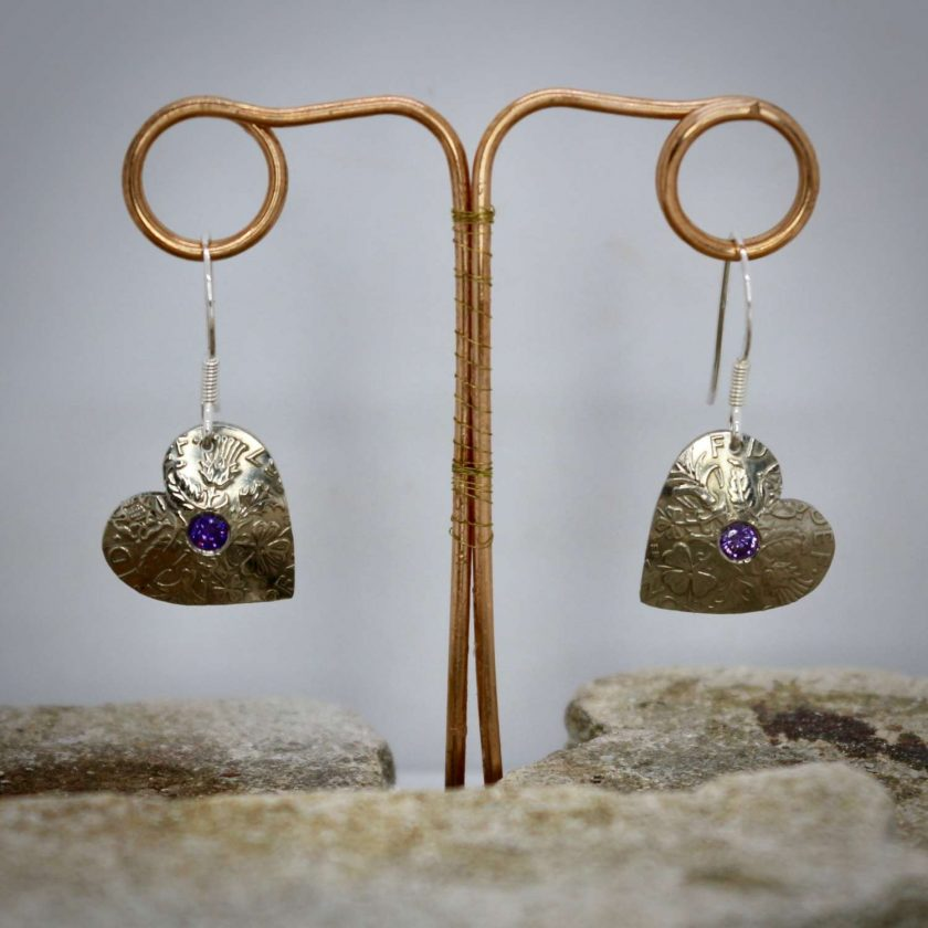 Lucky Sixpence Hand Made Heart Earrings, With Ruby Red cubic zirconia. 3
